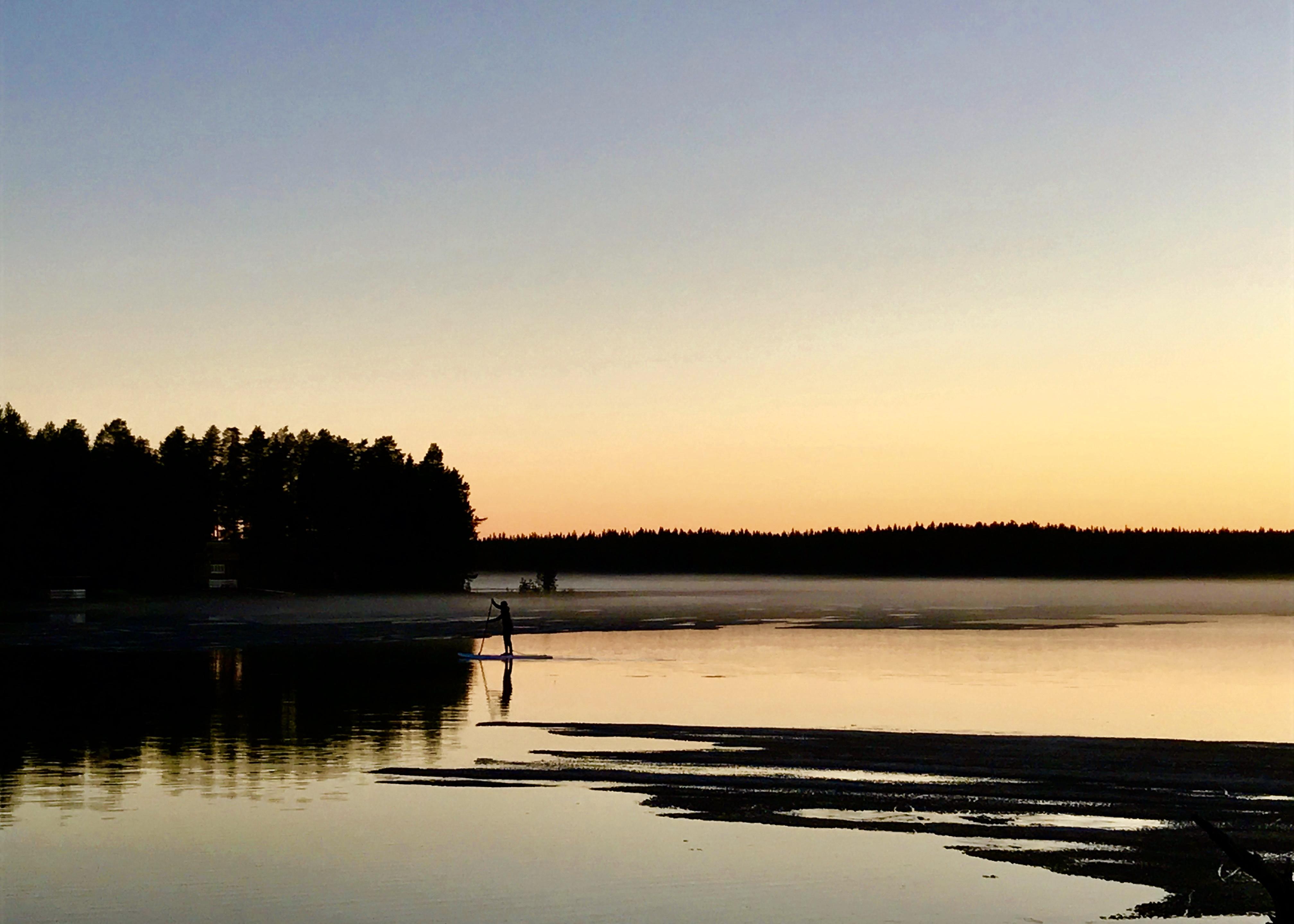 Paddleboarding Hossa Finland Midnight Sun